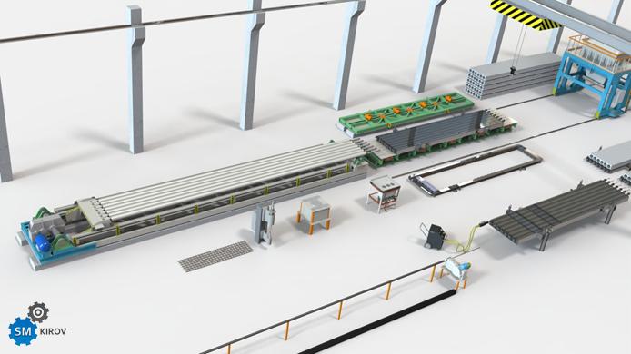 Технологическая линия многопустотных плит ПК агрегатно-поточного типа