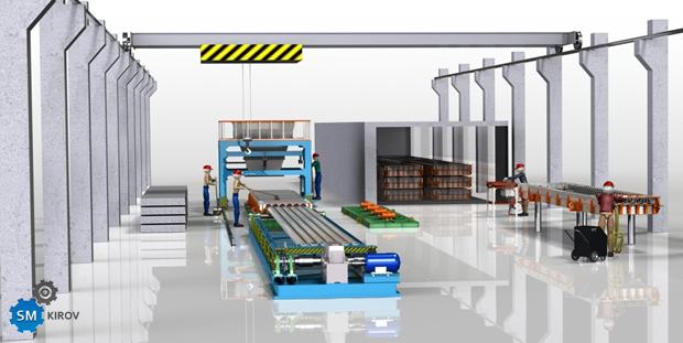 Технологическая линия многопустотных плит ПК стендового типа