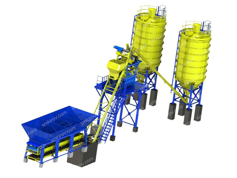 Бетонный завод РБУ-Скип 20 с двумя силосами для цемента