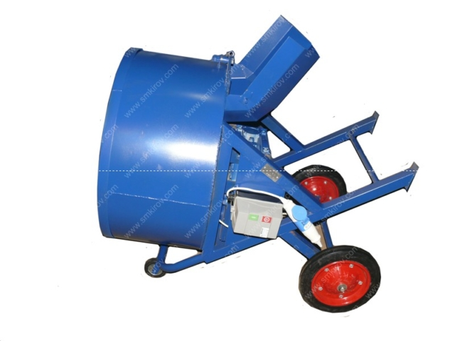 Принудительная бетономешалка СБ-мини 120 на 220 Вольт положение лёжа для траспортировки